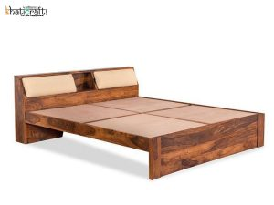 Buy online Iksha Solid Wood Without Storage Bed At Khaticraft